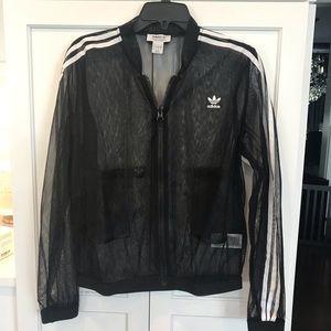 adidas New 3 Stripe Tulle Black Track Jacket